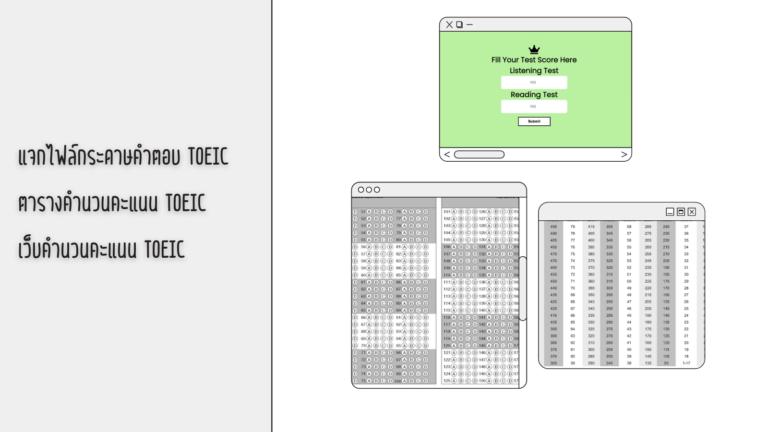 แจกกระดาษคำตอบ TOEIC / ตารางคำนวนคะแนน / เว็บคิดคะแนน